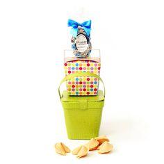 Purim Pick Me Up Shalach Manos Kosher Gift Tote, Purim Pick Me Up -shalach manos kosher gift tote. Gourmet caramels and fortune cookies. Pareve, dairy, OU, OK, Kaf-K, Star-K, CRC, COR, MK (Montreal Kosher), Eda Cahredis Badatz