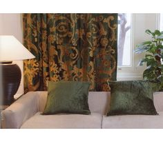 luxury velvet curtains chatsworth green crushed velvet with gold appliqué Swag Curtains, Luxury Curtains, Velvet Curtains, Panel Curtains, Richmond Green, Luxury Bedspreads, Curtain Material, English House, Curtain Designs