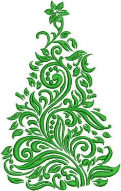 Damask Christmas Tree Embroidery Design by DrusDesigns on Etsy Learn Embroidery, Free Machine Embroidery, Crewel Embroidery, Ribbon Embroidery, Embroidery Patterns, Little Girl Christmas Dresses, Christmas Tree Embroidery Design, Embroidery Techniques, Christmas Art