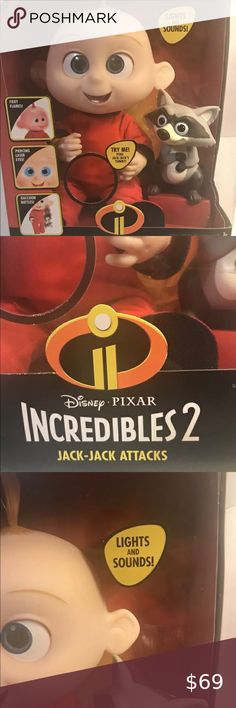 Disney Gli Incredibili 2 JACK-JACK Raccoon ACTION FIGURE-NUOVA