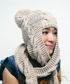 Hand Knit Hat  hooded scarf  Cable Scarf Hat in by Magicdoll, $52.00