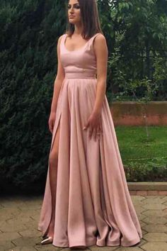 Pretty Pink Prom Dress,Long Satin Formal Gowns,Formal Evening Dress,Pink Bridesmaid Dresses