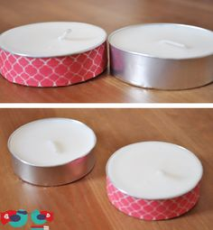 Use Washi Tape to decorate plain Tea Lights - Before and After. Now they are perfect to sit out on their own without a candle holder. These would also be awesome for an event; just need washi tape in the party or wedding colors. @thelovenerds.com