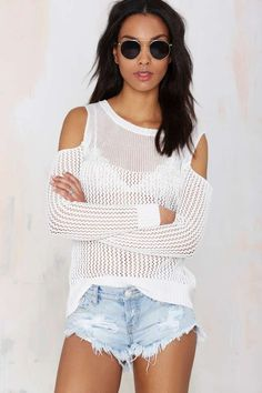 Out Cold Cutout Sweater - Pullover | Off The Shoulder from Nasty girl