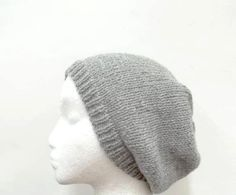 Knit wool Beanie Beret Slouch Hat Gray size medium  by CaboDesigns, $24.00