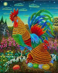 Rooster and hen art.