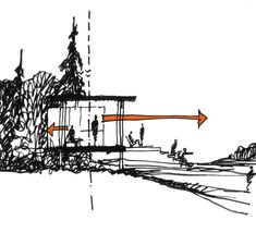 Sketch By Olson Kundig Architects - Projects - Fallingwater Cabin Design Competition Architecture Concept Drawings, Architecture Sketchbook, Architecture Panel, Architecture Portfolio, Architecture Design, Chinese Architecture, Plan Drawing, Shading Drawing, Drawing Ideas