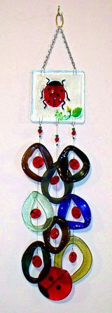 glass wind chime/ Ladybug