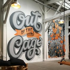 Saved by Inspirationde (inspirationde). Discover more of the best Typography, Awesome, Mural, and Tyrsamisu inspiration on Designspiration Types Of Lettering, Lettering Design, Hand Lettering, Environmental Graphics, Environmental Design, Graffiti, Office Mural, Typographie Inspiration, Cool Typography
