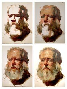 """Bob"" portrait painting demo. 12""x16"", oil on canvas board."
