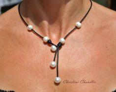 Perle und Leder Halskette - Schwarz Cascada - Perlen und Schmuck - Leder Halskette - Leder und Perlenkette - Lederschmuck