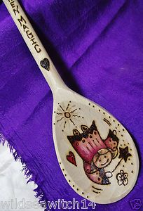 "PERSONALISED Large 14"" STANDARD Wooden Spoon (with hanger) ANY Design ANY Text 