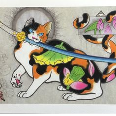 Gatos tatuando a otros gatos en pinturas japonesas con tinta - Cultura Inquieta