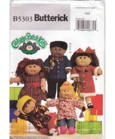 Butterick 5303 Pattern for Cabbage patch doll clothes designed to fit 16 and 20 inch doll. Kids Clothes Patterns, Animal Sewing Patterns, Coat Patterns, Knitting Patterns, Cabbage Patch Kids Clothes, Cabbage Patch Kids Dolls, Vintage Cabbage Patch Dolls, 1980s Kids, Stuffed Toys Patterns