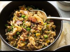 A super quick Egg Fried Rice for lazy nights! Made with frozen veggies and egg scrambled in the wok with the rice. This is a highly versatile fried rice recipe you can make your own - try adding chicken or shrimp/prawns!