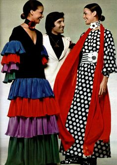 Ungaro 1970s maxi boho dress dots ruffle ethnic mexican mod black white red blue green . I just like this photo.
