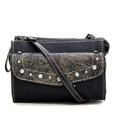 a5a8c34924 Love this Black Eleanor Crossbody Bag on  zulily!  zulilyfinds Leather Bag