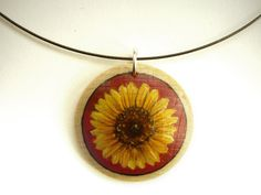 Sunflower Jewelry - Flower Necklace - Small Painting on Wood - Hand Painted Pendant - Choker. $25.00, via Etsy.
