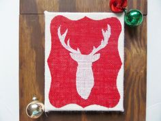 Rustic Christmas sign with deer head, Burlap deer head sign, 8X10 inch burlap canvas sign, Rustic holiday decor, deer silhouette, winter by Instinct2create on Etsy