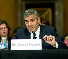 Like he needs a name plate: George Clooney testified before the Senate Foreign Relations Committee in Washington, DC Wednesday.
