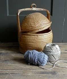 Vintage Woven Bamboo Basket Covered by solsticehome on Etsy, $29.00