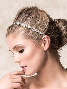 Bridal Hair Accessories, Bridal Wedding Headband, Swarovski Crystal Headband, Art Deco Single Strand Oval Rhinestone Headband (CHRISTINE) by GlamorousBijoux on Etsy https://www.etsy.com/listing/90050118/bridal-hair-accessories-bridal-wedding