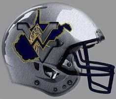 I absolutely love this helmet logo design. West Virginia Colleges, West Virginia University, Mountaineers Football, Football And Basketball, Football Helmet Design, Pittsburgh Steelers Wallpaper, College Football Uniforms, Helmet Logo, American Football