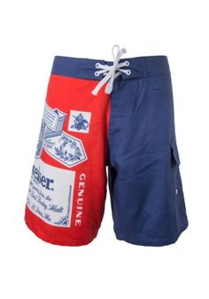 7bc37e1e99ce5 Budweiser King of Beers Retro Label Licensed Men's Board Shorts Swim Trunks