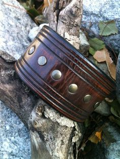 Antique Brown Brass Trax Leather Cuff by BohemianLeather on Etsy, $35.00