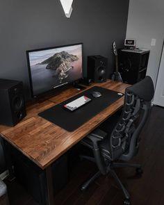 Home Office Setup, Home Office Design, Office Decor, Gaming Room Setup, Desk Setup, Pc Setup, Black Interior Design, Gamer Room, Black Desk