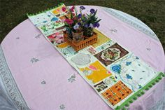 Vintage Fern: Scrap Happy Table Runner tutorial.  I want to make this with a set of the pretty retro handkerchiefs, like the blue one in hers.  I would cut them into triangles and fill in with small doilies, like she did.  I think it would be great as a dresser scarf!