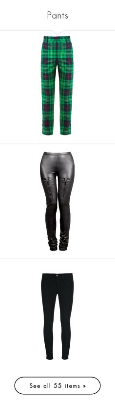"""""""Pants"""" by meabee28 ❤ liked on Polyvore featuring pants, jeans, plaid, green navy, green high waisted pants, high-waisted pants, green pants, plaid trousers, navy pants and vegan leather pants"""