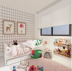 This Lorena Canals machine washable children's rugs in Pink Hippy is a beautiful addition a little girl's room. Visit Lorenacanals.com for more kids room ideas and to shop our stylish kids rugs.