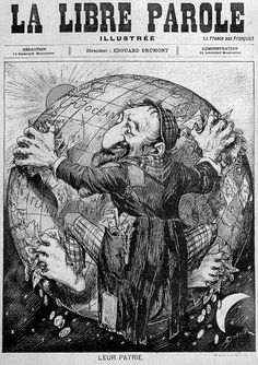 "A German anti-Semitic illustration depicting Jewish world domination circa captioned, ""The entire world is the homeland of the Jews. Jewish History, Jewish Art, World History, Les Aliens, Communist Propaganda, Ww2 Posters, Anti Semitic, Religion, World Domination"