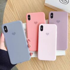 Simple Colorful love Heart Silicone Phone case For iPhone XS Max XR 6 7 Smartphone Case, Floral Iphone Case, Marble Iphone Case, Iphone Phone Cases, Iphone 7 Plus Cases, Phone Covers, Capas Iphone 6, Capas Samsung, Cute Cases