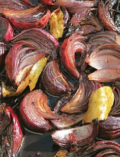 Roasted red onions with port and bay recipe from River Cottage Every Day by Hugh Fearnley-Whittingstall | Cooked