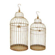 Woodland Imports 2 Piece Enticing Decorative Bird Cage Set