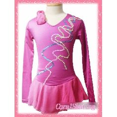 New exclusive Ice figure skating dress  180-2B -inexpensive pink beaded long sleeves ice skating dress