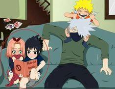 Omgosh this is amazing!… little Sasuke and Sakura reading Kakashi's book while Naruto is taking care of Kakashi Sensei :))) ♥♥♥ Naruto Uzumaki Shippuden, Naruto Kakashi, Anime Naruto, Naruto Comic, Naruto Teams, Naruto Cute, Boruto, Shikamaru, Shikatema