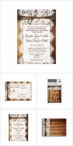 Barn Wood and Lace Wedding Invitation Set