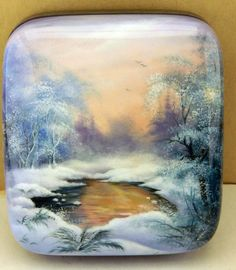"""Russian Lacquer Handpainted Box """"Winter in The Forest"""" Village Fedoskino 