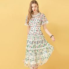 Flowers Embroidery Ruffles Vintage Midi Dresses - Power Day Sale Maxi Outfits, Casual Dress Outfits, Stylish Outfits, Fashion Outfits, Maxi Dresses, Midi Skirts, Floral Outfits, Summer Outfits, Party Outfits
