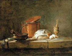 stilllifequickheart:    Jean Simeon Chardin  Copper Pot, Leeks and Mortar and Pestle on a Stone Ledge  1734