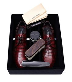 Dolce & Gabbana Shoes £2,409.00 A luxurious pair of Dolce & Gabbana shoes made from 100% crocodile leather. Beautifully crafted for a sleek, streamlined shape with a classic lace-up front and rounded toe. Includes a maintenance kit for crocodile leather … timeless.