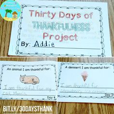 My all time favorite activity for November for a 7 reasons. 1. Super easy for the teacher. 2. Quick, daily, and fun for the kiddos. 3. Gets kids thinking about what they're thankful for ALL month long. 4. Sneaks in some sentence writing practice. 5. Perfect for morning work. 6. Parents LOVE seeing the finished product. 7. Only $2!