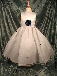 Flower Girl Dress 5166- White or Ivory Sleeveless Satin Bodice With Navy Blue Scattered Rosettes On