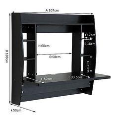 Tesco direct: Homcom Floating Wall Mounted Desk Table Black or white