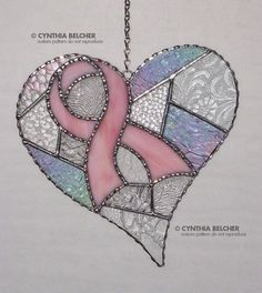 Stained Glass Breast Cancer Ribbon and Heart Breast by GLASSbits