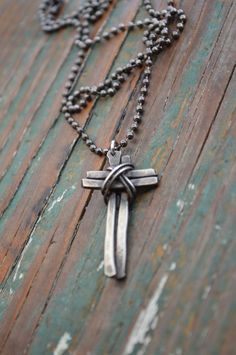 Rustic Cross Neckalce // Men's Necklace // Christian Jewelry // Boho Neckalce // Gift for Him // Father's Day // Handmade by Korey Burns by KoreyEBurns on Etsy