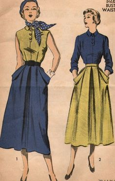 Advance 5403 50's Blouse and Skirt Vintage Sewing Pattern sz 12 bust 30 unused